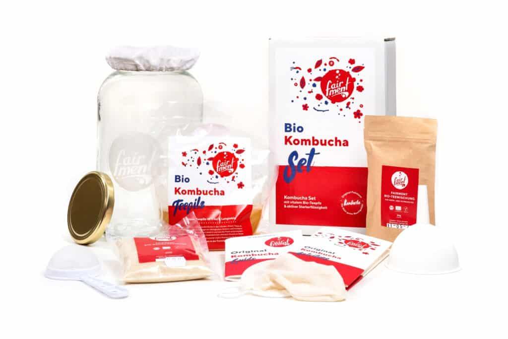 Set zur Herstellung von Kombucha. Zu beziehen bei der Berliner Firma Fairment, die die kostenlosen Online Fermentationskongresse veranstalten.