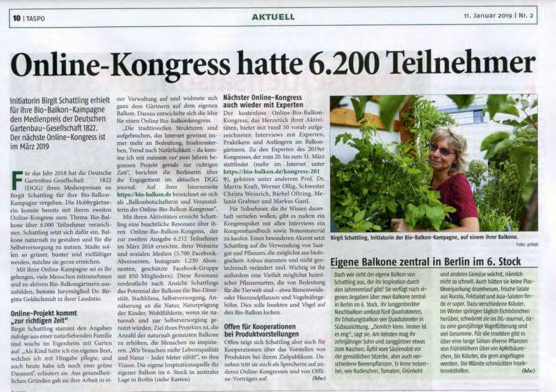Taspo, Medienpreis Deutsche Gartenbaugesellschaft, Birgit Schattling, Bio-Balkon, Balkonkongress, Bio-Balkon Kongress, Onlinekongress, Urban Gardening, Selbstversorgung, Online-Kongress, Onlinekongress