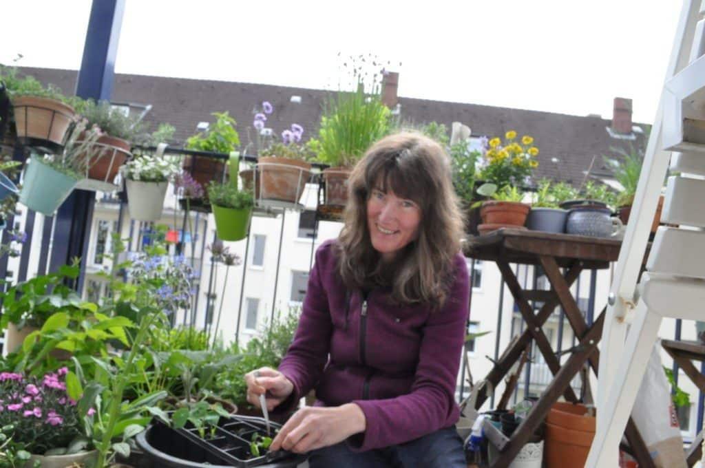 Große Pflanzaktion im Mai. Stefanie pflanzt fleißig überwiegend heimische Wildpflanzen für ihren pflegeleichten schön blühenden bienenfreundlichen Balkon.